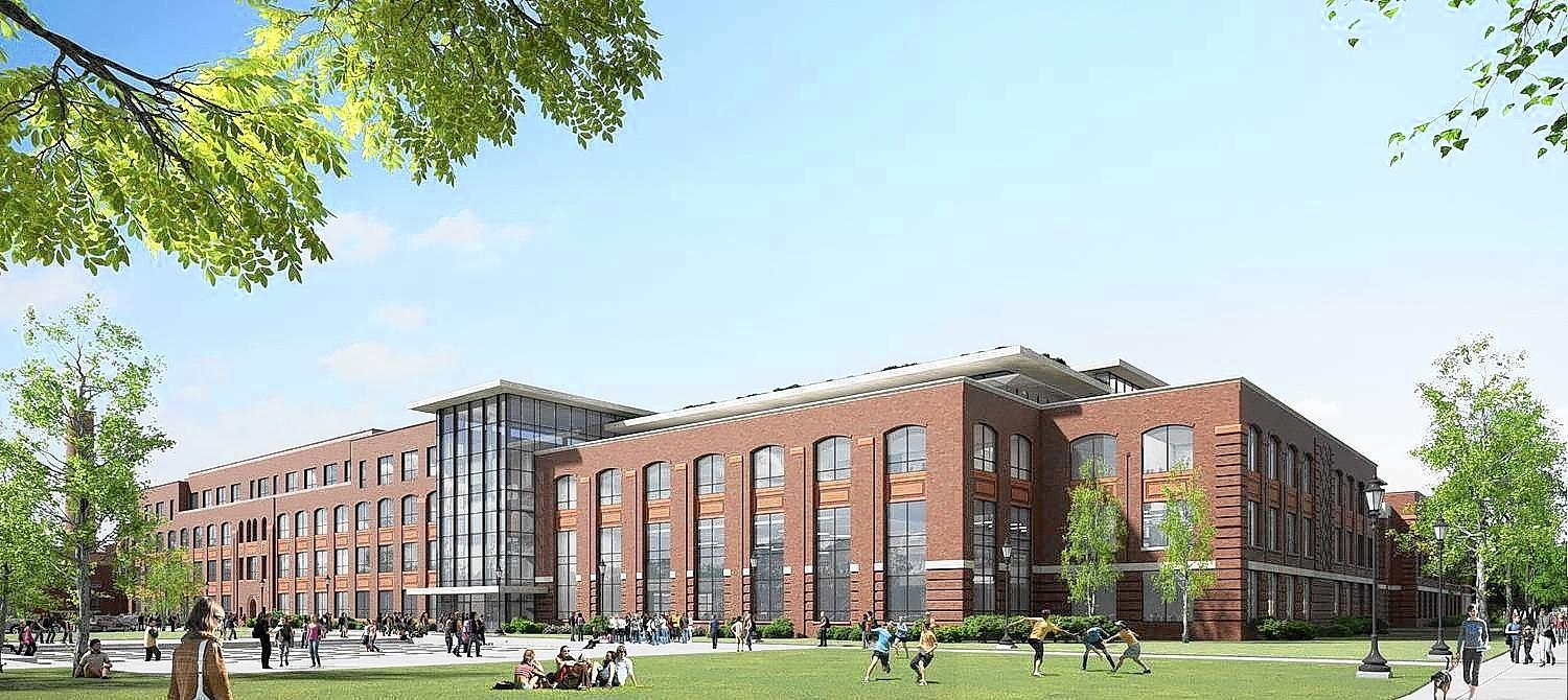 When Wilmette voters cast ballots in the November election, they may be determining the fate of two revered local institutions - New Trier High School and the village's lakefront. Pictured here is a rendering of the proposed North entrance of New Trier's Winnetka campus.
