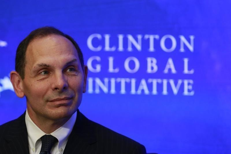 Bob McDonald, chief executive officer of Procter & Gamble, looks on during a water purification event at the Clinton Global Initiative in New York