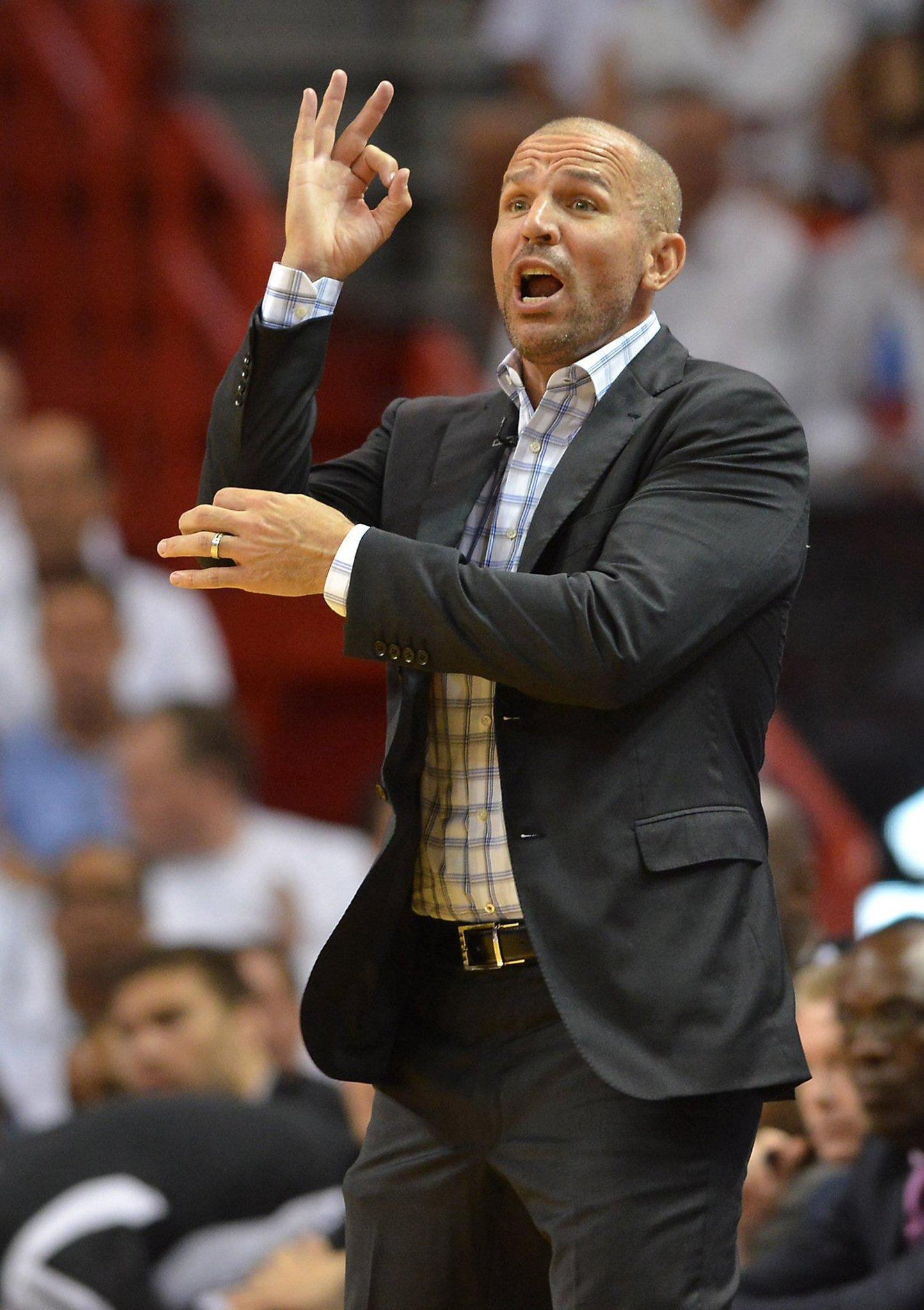 Nets coach Jason Kidd makes calls in the third quarter during Game 2 of Eastern Conference semifinals against the Heat.