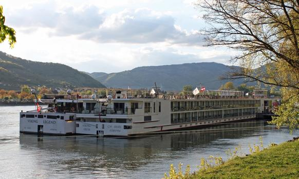 The Viking Freya and Viking Legend are docked in Durnstein, Austria, as they cruise down the Danube River. The cruises are far different from the giant ocean-going cruise ships as the smaller Viking boats travel rivers and visit cities with tours of historic sites.