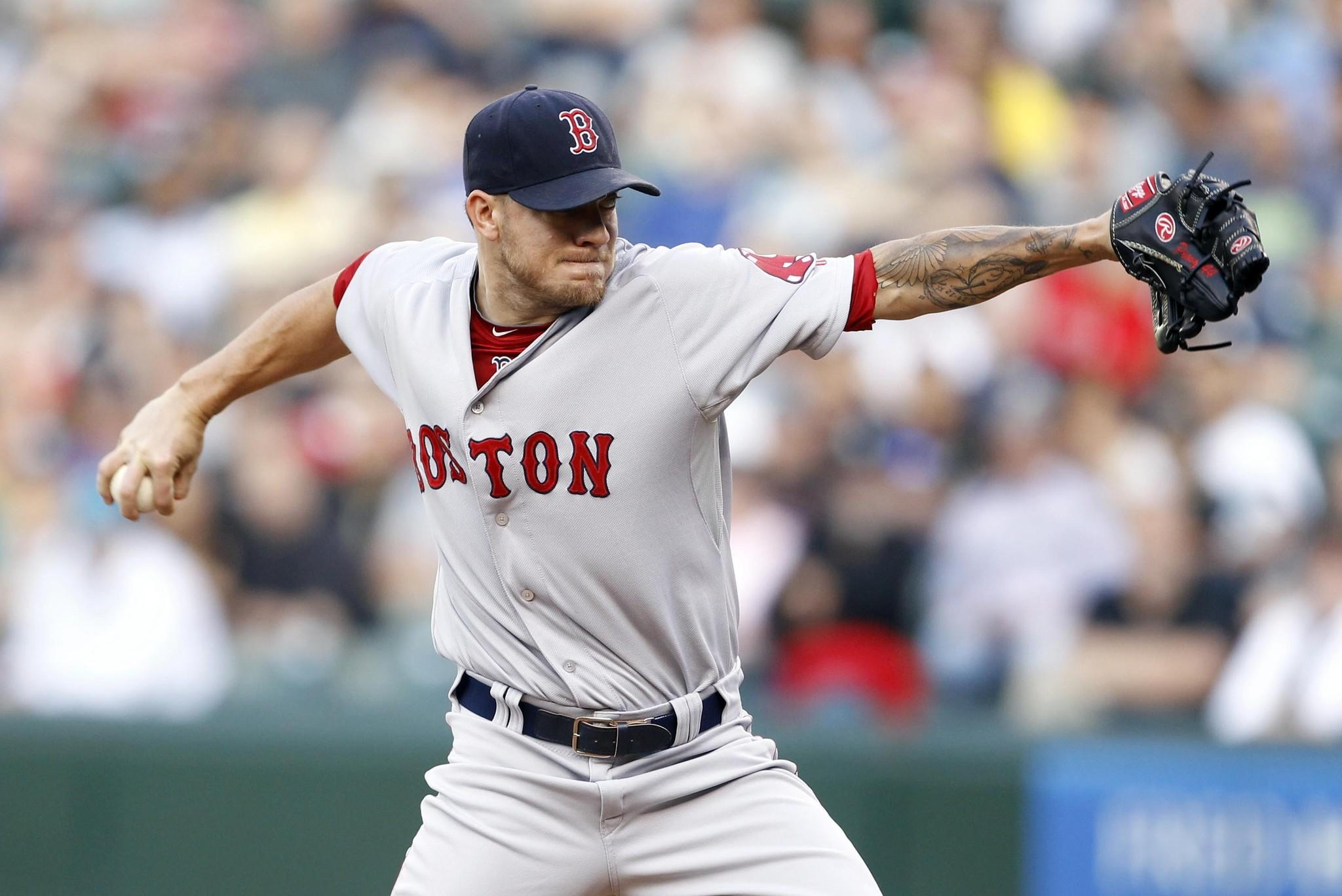 Red Sox pitcher Jake Peavy throws against the Mariners last week.