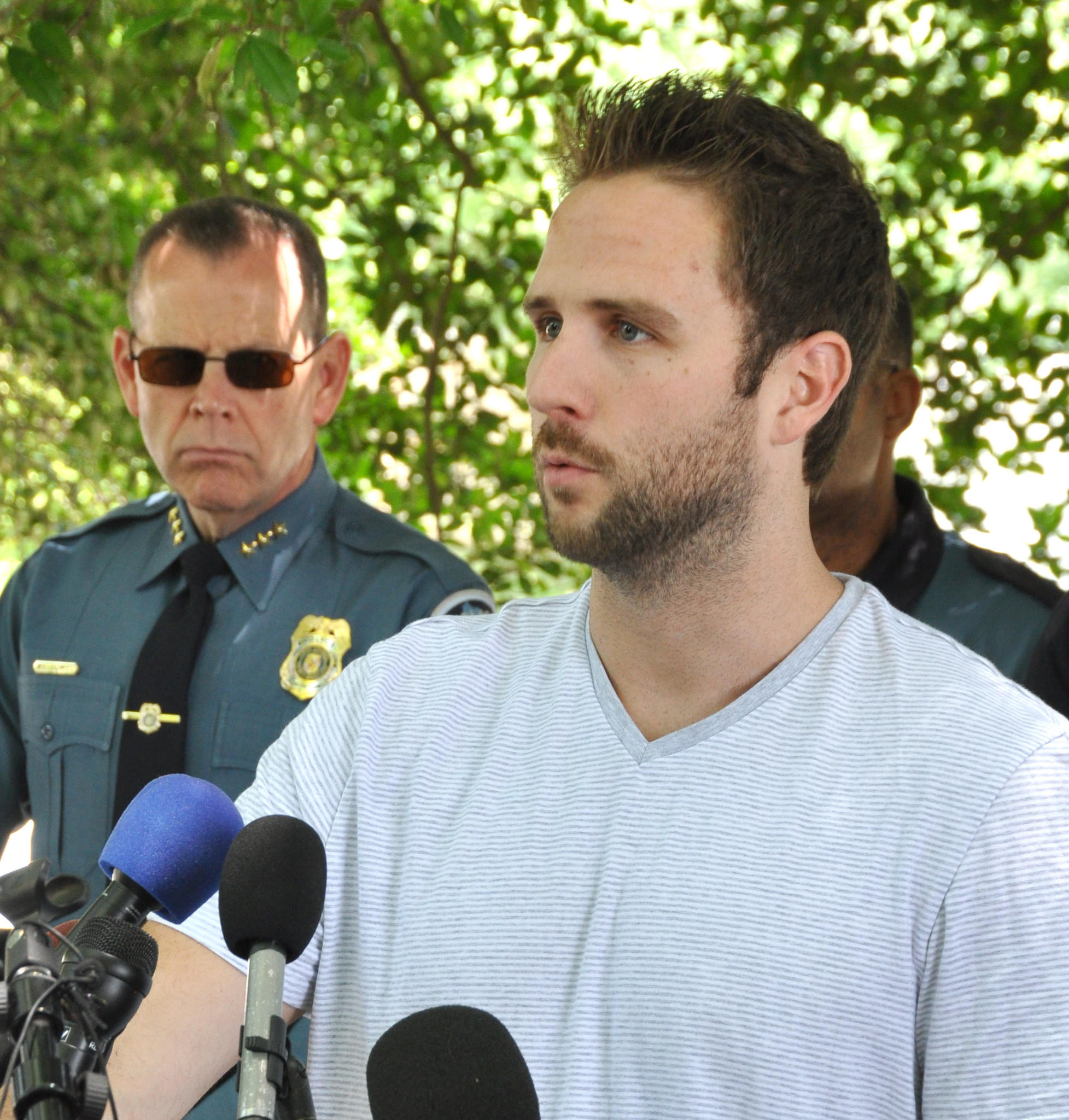 Todd Green said he and his girlfriend, Katie Pohler, were hit and injured while bicycling on the Baltimore-Annapolis Trail along Ritchie Highway near the World War II Memorial on Saturday afternoon. Pohler remains hospitalized and Green spoke at a news conference that was held Monday at the memorial.