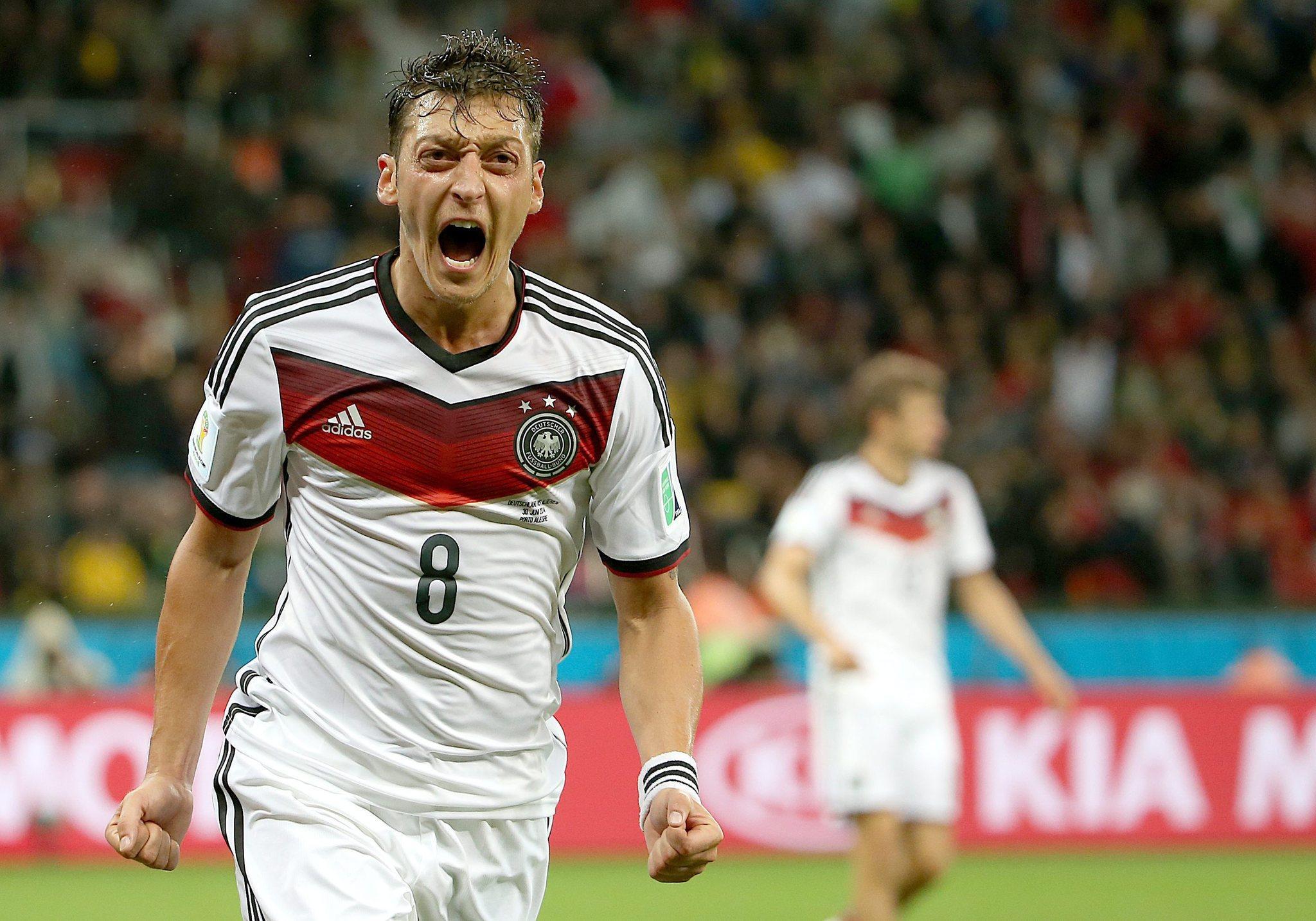 Mesut Oezil of Germany celebrates a goal Monday.