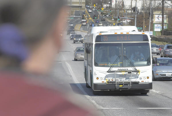 An MTA bus pulls over for riders along Philadelphia Road. Fares are supposed to cover 35 percent of the transit agency's expenses, but the actual return is put around 30 percent.