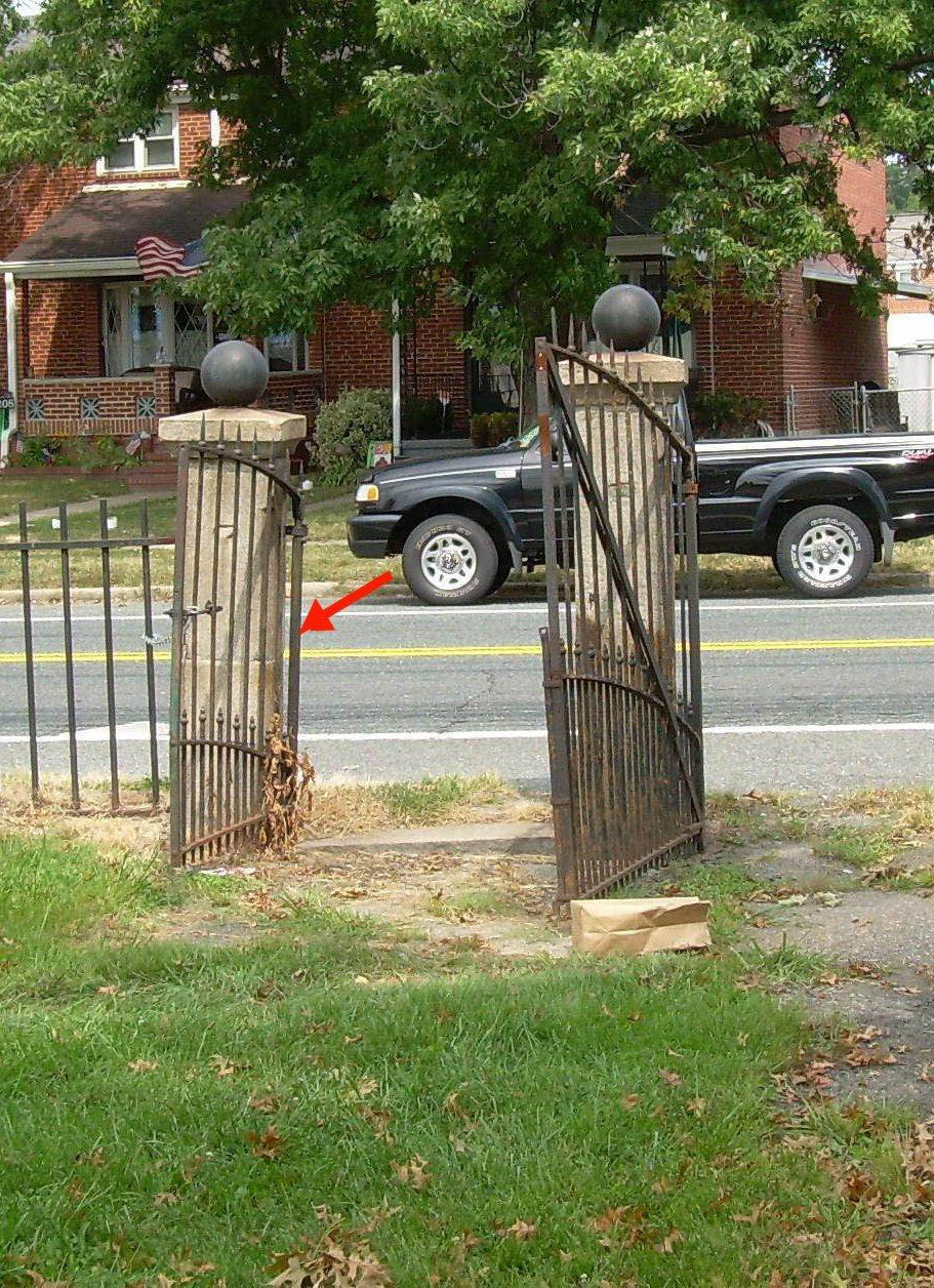 The historic wrought iron gates at the entrance of Battle Acre Monument Park in the 3100 block of North Point Road, were reported stolen. Baltimore County police are seeking public help in finding the unique gates.