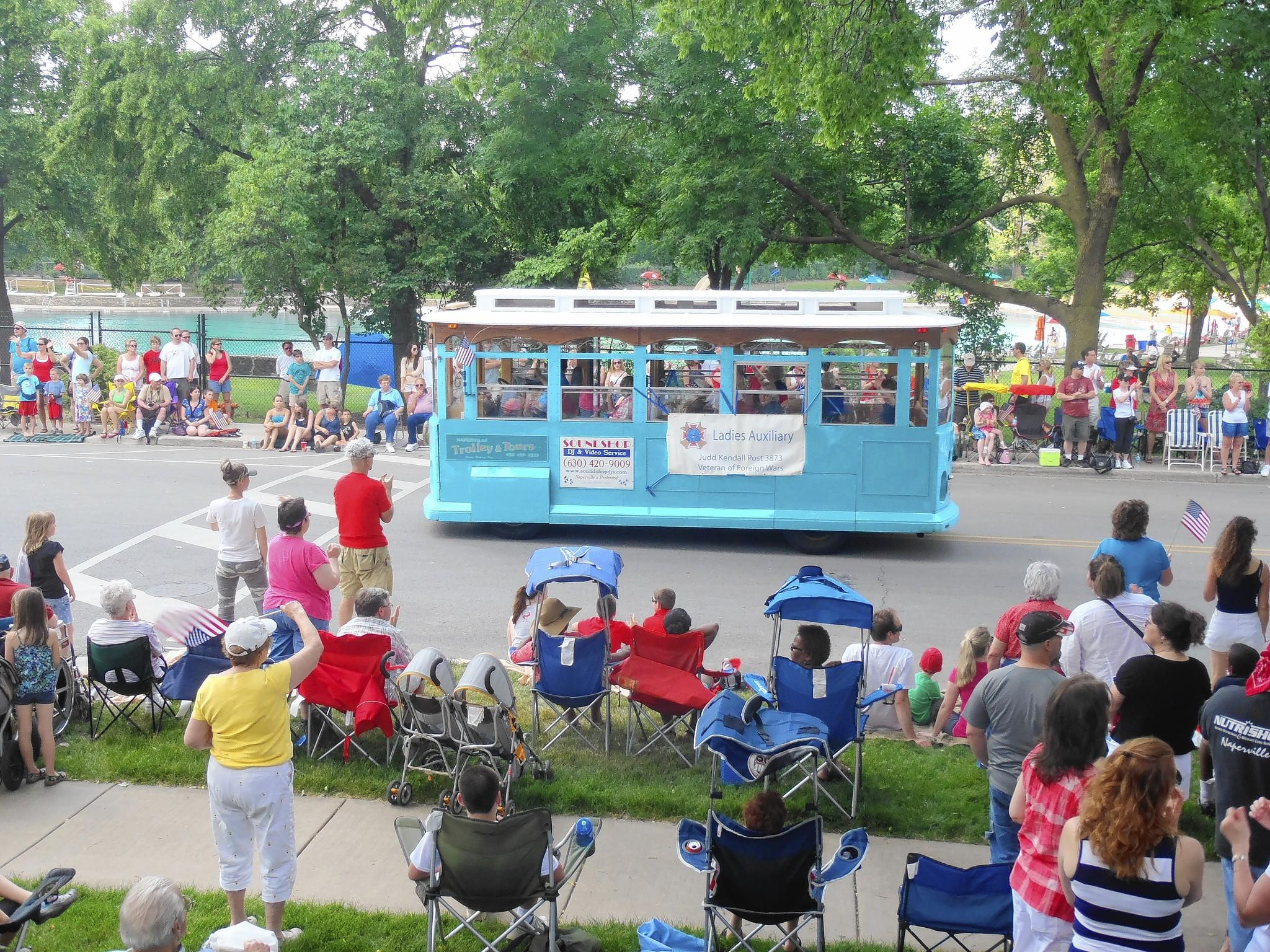 World War II veterans from Downers Grove will take a trolley ride down Main Street as part of the Fourth of July parade.