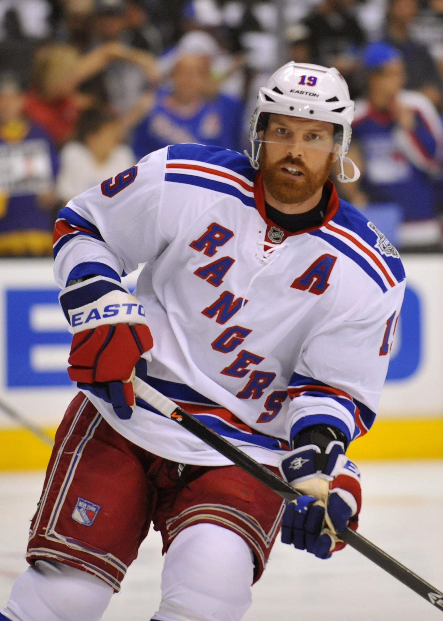 Then-Rangers center Brad Richards warms up before Game 2 of the 2014 Stanley Cup Final against the Kings at Staples Center.