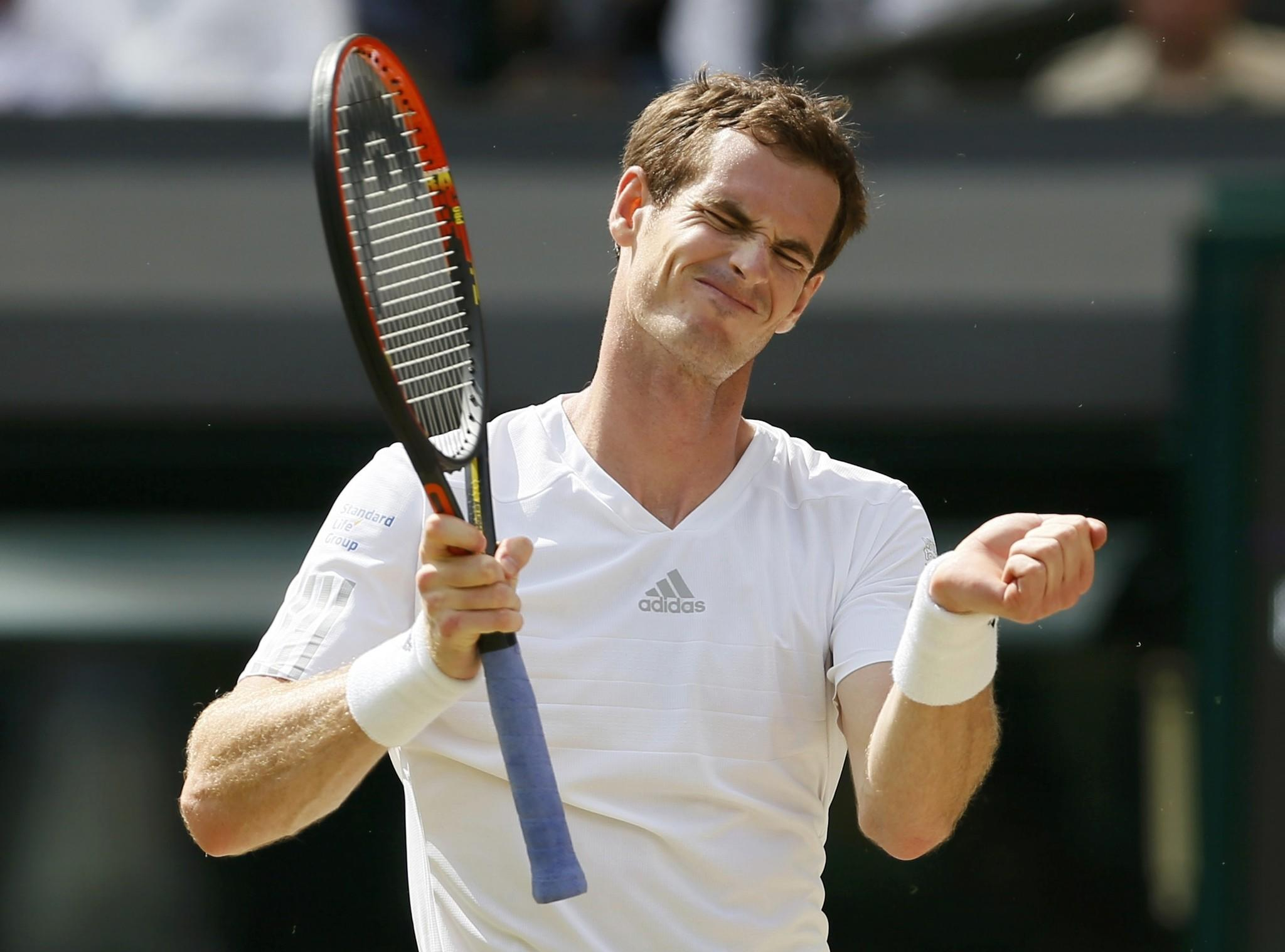 Andy Murray of Britain reacts during his men's singles quarterfinal tennis match against Grigor Dimitrov of Bulgaria.