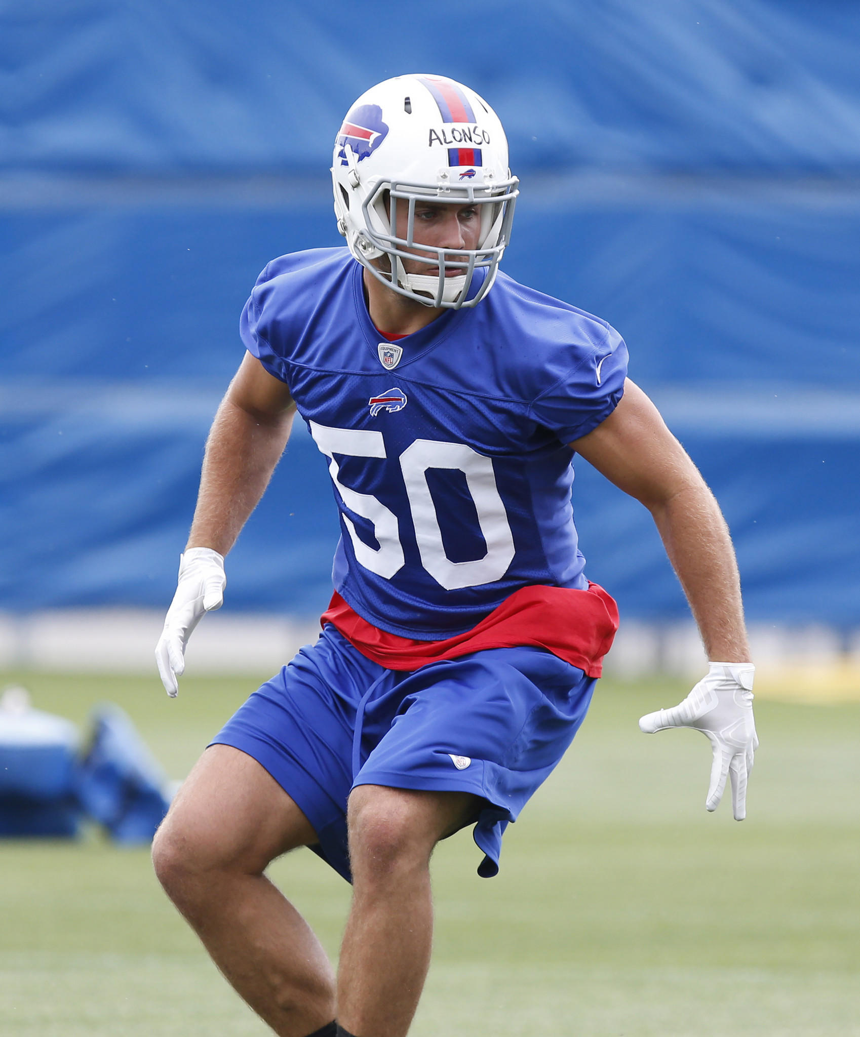 Bills linebacker Kiko Alonso performs a drill during the Bills minicamp.