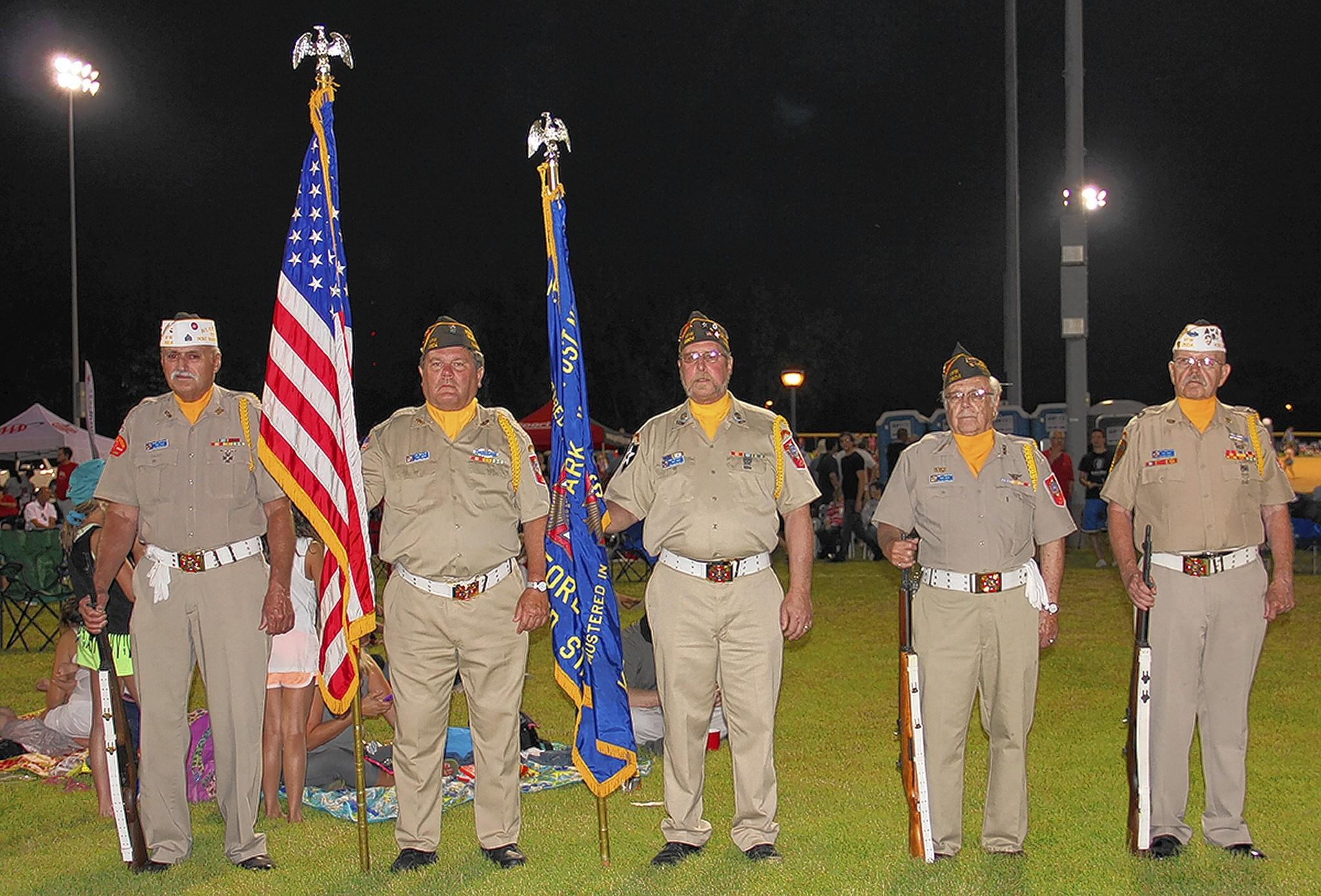 Members of the Orland-Palos Reber-Tesmond VFW Post 2604 present colors each year at the Village of Orland Park's Independence Day Celebration.
