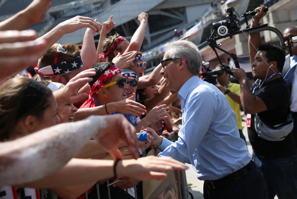 A new super PAC to benefit Mayor Rahm Emanuel took in nearly $1 million in a single day. Emanuel is seen here at Tuesday's World Cup viewing party at Soldier Field.