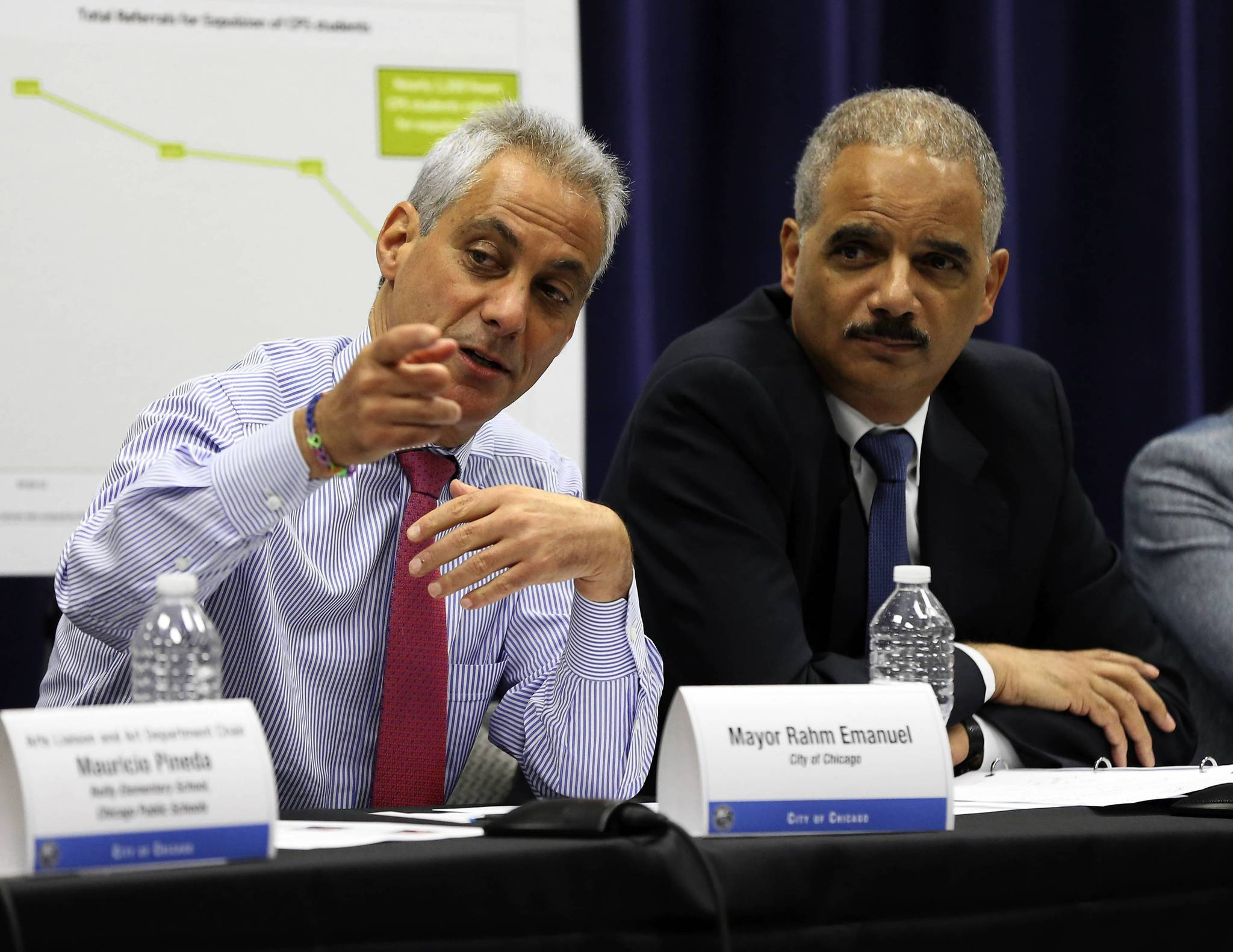 Chicago Mayor Rahm Emanuel and Attorney General Eric Holder participate in a roundtable discussion on school safety at Chicago Police headquarters.