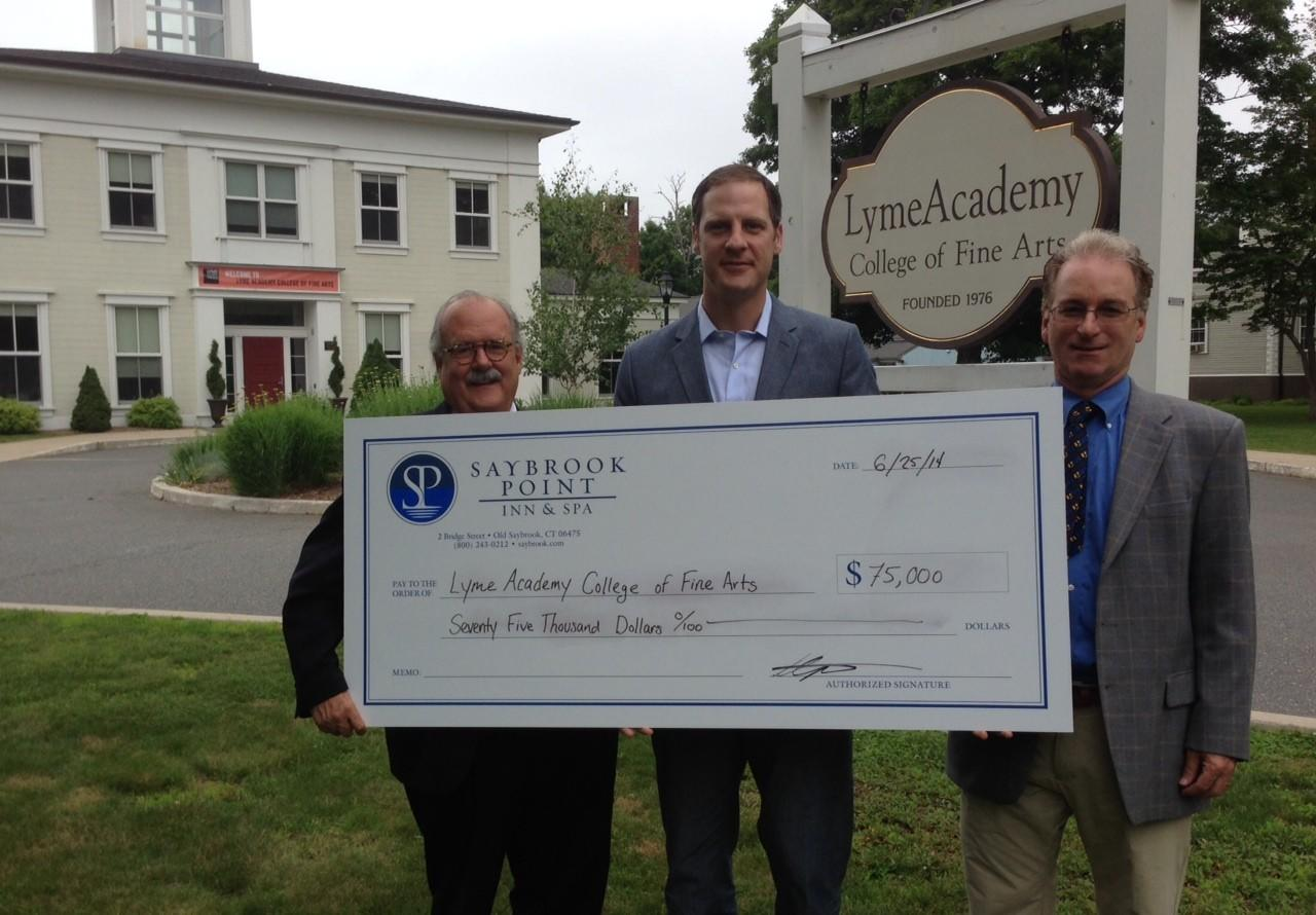 Left to right: Fritz Jellinghaus, vice president of development, Lyme Academy College of Fine Arts; Todd Jokl, transition director, Lyme Academy College of Fine Arts; and Stephen Tagliatela, innkeeper/managing partner, Saybrook Point Inn & Spa.