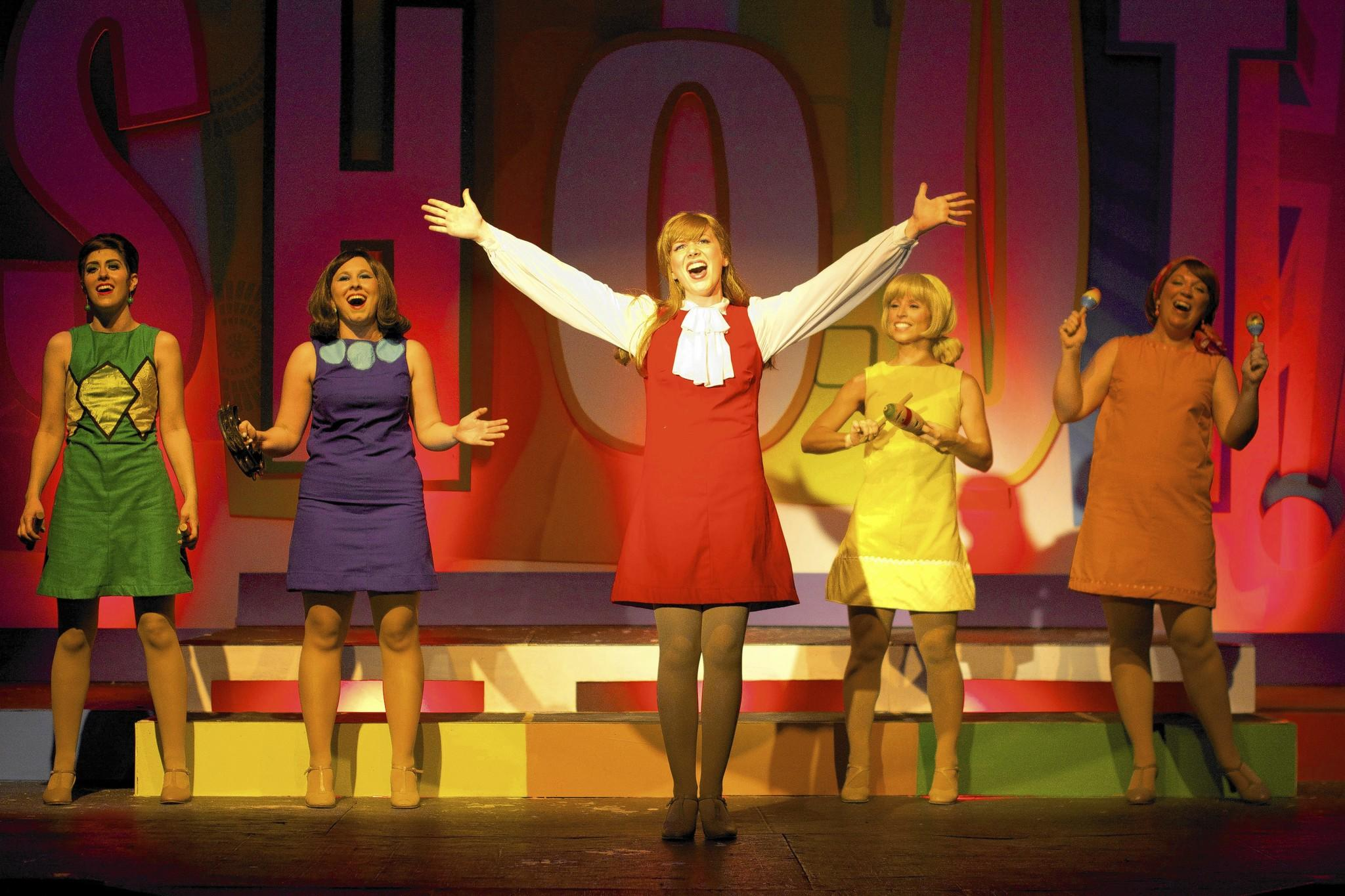 "From left, Brittany Zalovick, Kara Leonard, Mariel White, Katie Gardner and Jamie Erin Miller in ""Shout! The Mod Musical,"" at Annapolis Summer Garden Theater through July 19."