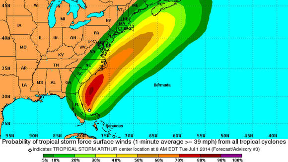 The National Oceanic and Atmospheric Administration (NOAA) shows the predicted path of Tropical Storm Arthur for Sunday, July 6.