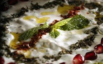 Roasted zucchini and labneh dip with mint
