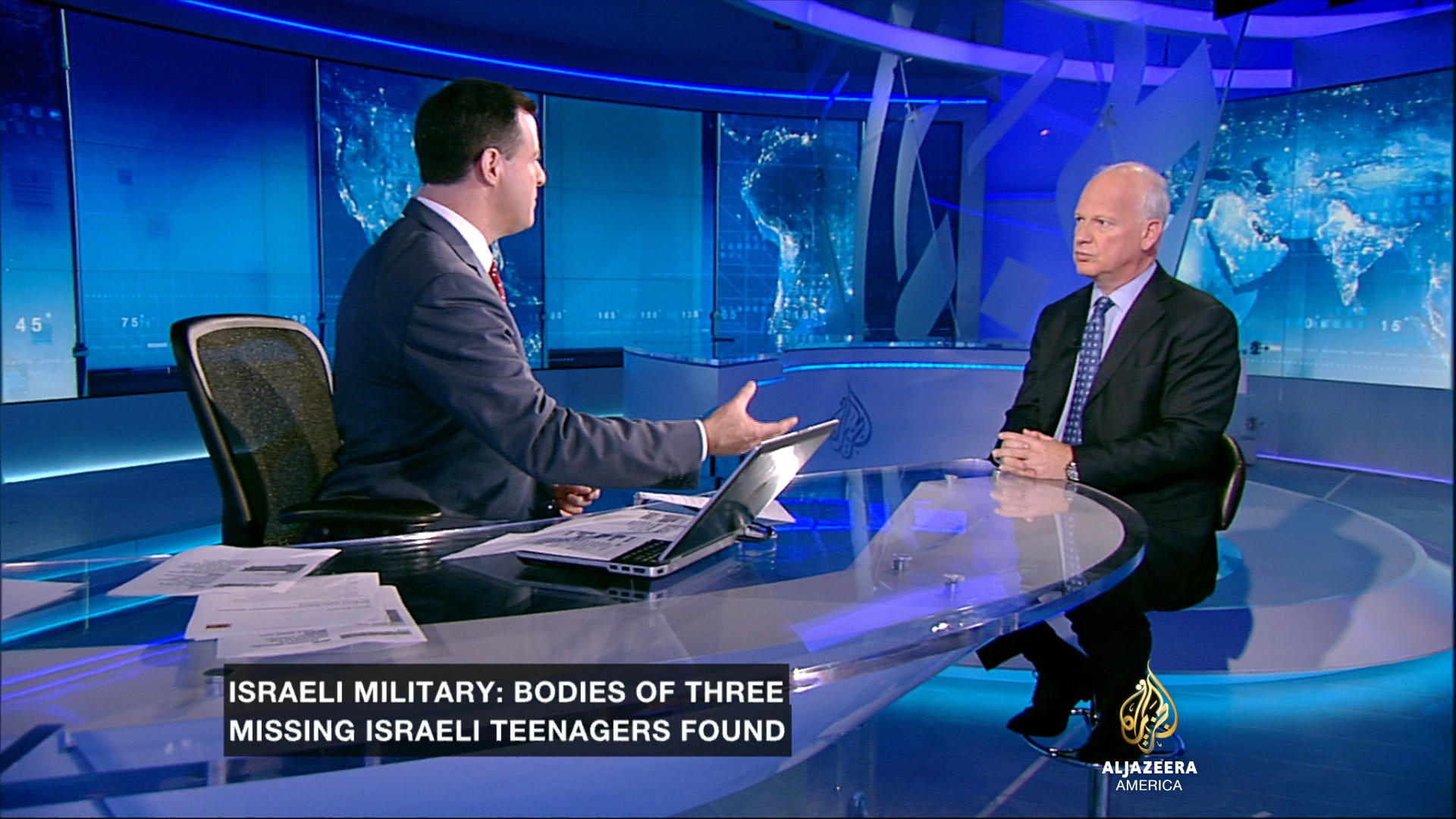 Al Jazeera America anchor David Shuster interviews Alon Pinkas, former Israeli consul general to the United States, in the wake of the bodies of three teens being found last week.