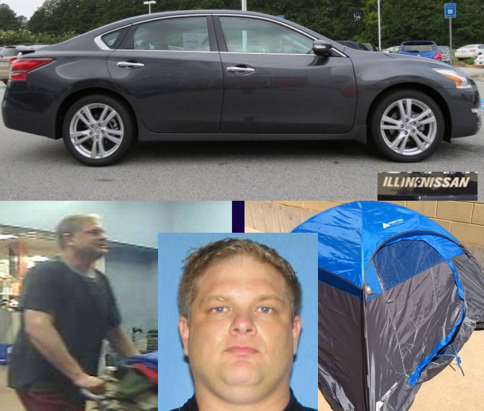 "Terence Doddy (bottom center) is wanted in connection with the slayings of Tonya Bargman, 44, at the Willow Creek rest stop in Sterling, and the killing of Todd Hansmeier, 37, Monday in Rockford. Doddy is suspected of stealing Bargman's car, a 2013 Nissan Altima like that pictured above, which has an ""Illini Nissan"" sticker (inset). Police today released a surveillance photo (below left) of Doddy at a Rockford-area store, and other photos, including one of a type of tent (below right) Doddy is believed to own."