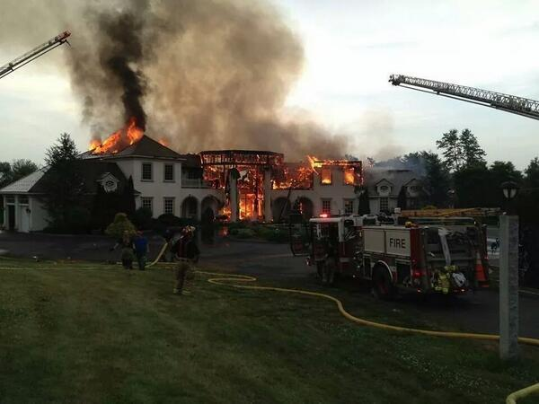 Firefighters from several Litchfield and Fairfield county towns Thursday night battled a ferocious fire that destroyed a 10,700 square foot home at 725 Breakneck Hill Road in Middlebury.