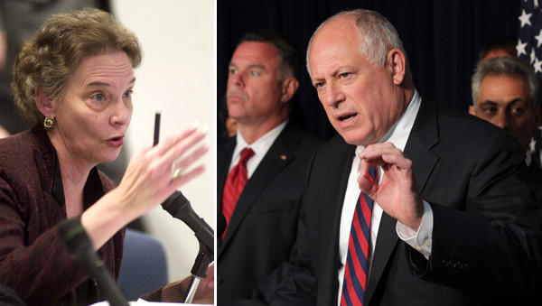 A federal subpoena seeks emails and other electronic records for Barbara Shaw (left), the retired former head of the the governor's anti-violence grant program. Illinois Gov. Pat Quinn (right) speaks on fighting crime and reducing violence during a 2012 press conference.