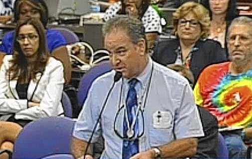 Steven Yerks of Boyd Anderson appearing at a Broward School Board Meeting on June 24 this year