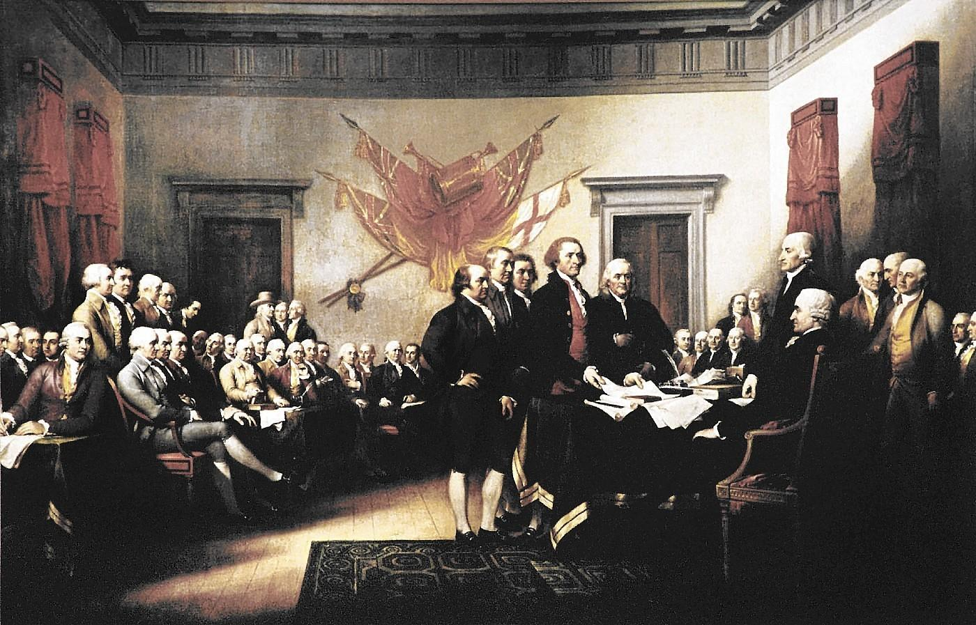 "John Trumbell's painting ""declaration of Independence"" depicts the presentation of a draft of the document to the Second Continental Congress. It hangs in the U.S. Capitol rotunda."