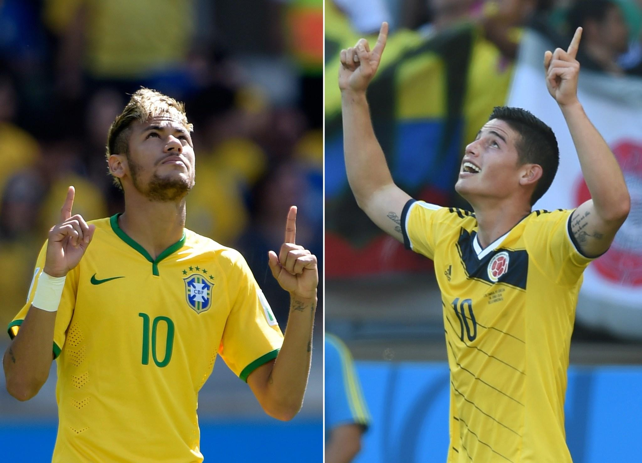 Brazil and Neymar, left, will face Colombia and James Rodriguez in a World Cup quarterfinal Friday.