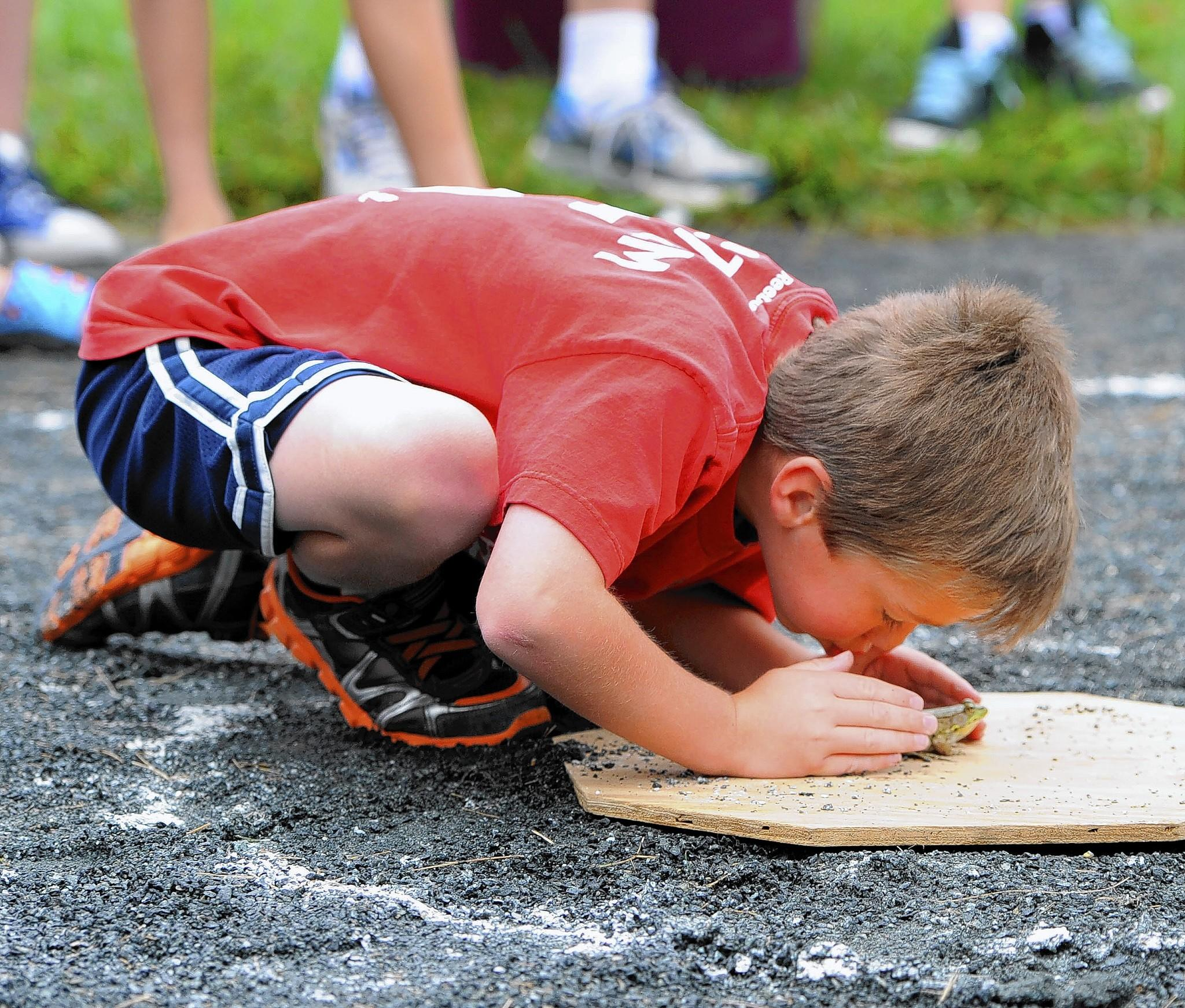 Ben Shramek of Forest Hill remains calm and tries to encourage his frog to take a hop as they compete in the great Bel Air Frog Jumping contest at Shamrock Park as part of Bel AIr's July Fourth morning events.