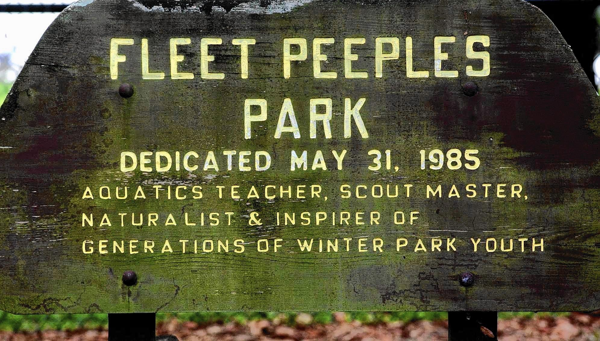 The sign at Fleet Peeples Park in Winter Park.