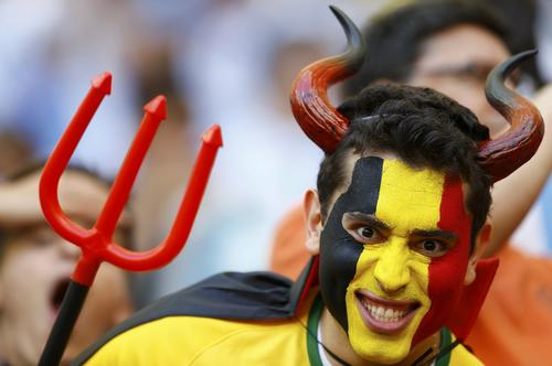 A Belgium fan waits for the 2014 World Cup quarter-finals between Argentina and Belgium at the Brasilia national stadium in Brasilia July 5, 2014.  REUTERS/Dominic Ebenbichler (BRAZIL  - Tags: SOCCER SPORT WORLD CUP)   ORG XMIT: STA655