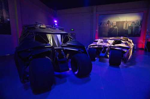 """Tumbler vehicles used in Batman movies are pictured during a media preview of Warner Bros. VIP Studio Tour """"The Batman Exhibit"""" in Burbank, Calif."""