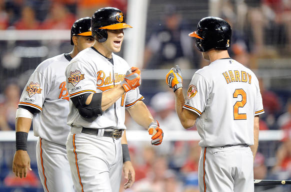Chris Davis celebrates with J.J. Hardy after hitting a home run in the 11th inning against the Nationals.