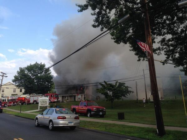 Firefighters respond to a blaze in Terryville.