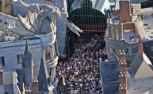 Huge crowds enter Diagon Alley at Universal Orlando Tuesday, July 8, 2014.