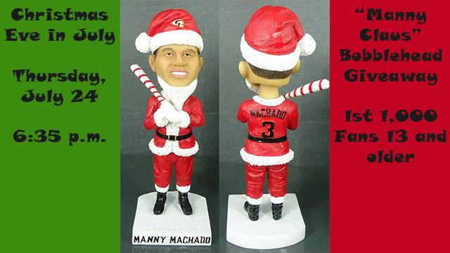Manny Machado Santa Claus bobblehead