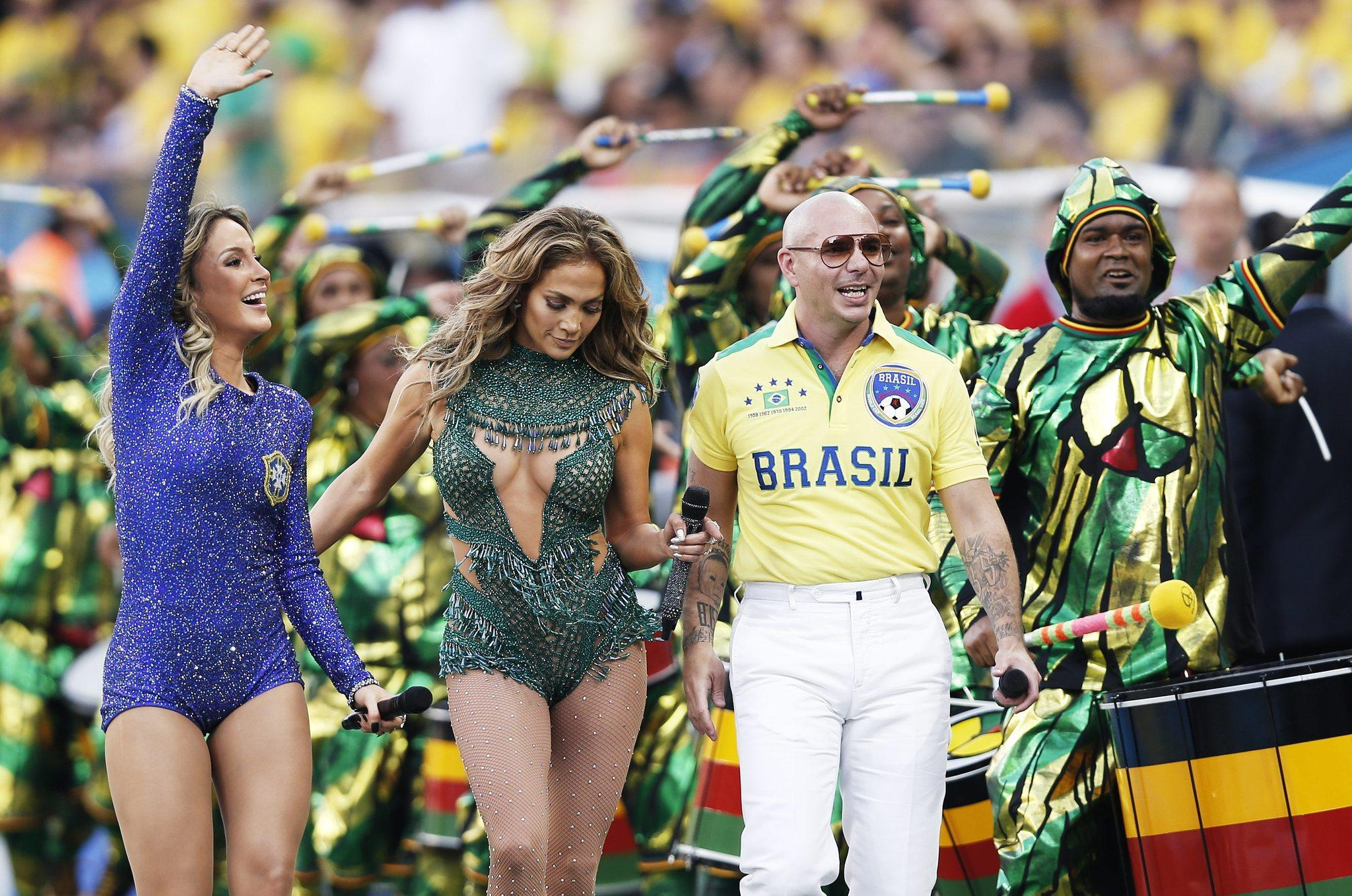 Rapper Pitbull performed with Jennifer Lopez before a World Cup match last month.