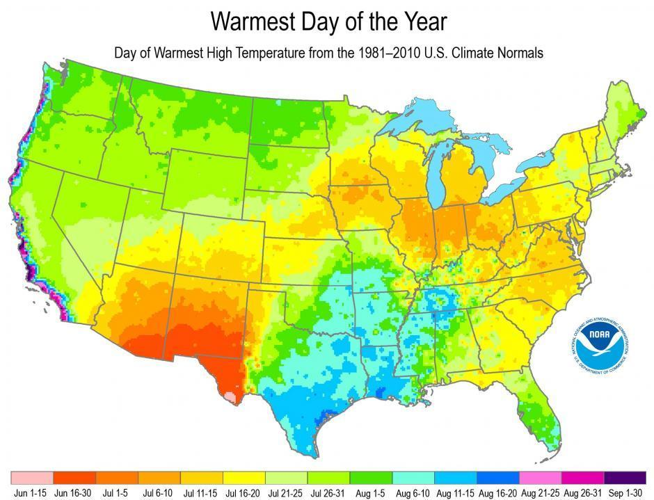 A National Climatic Data Center map depicts when the hottest day of the year typically occurs across the country.