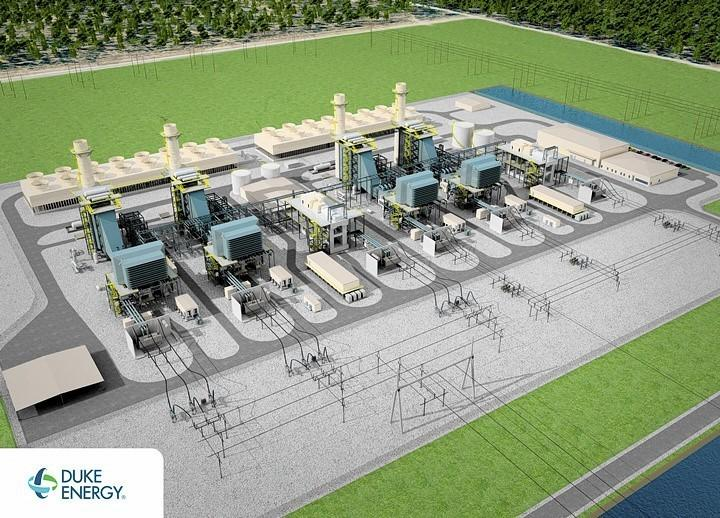 An artist's drawing of a power plant that Duke Energy proposes to build in Citrus County. The giant plant would run on natural gas.