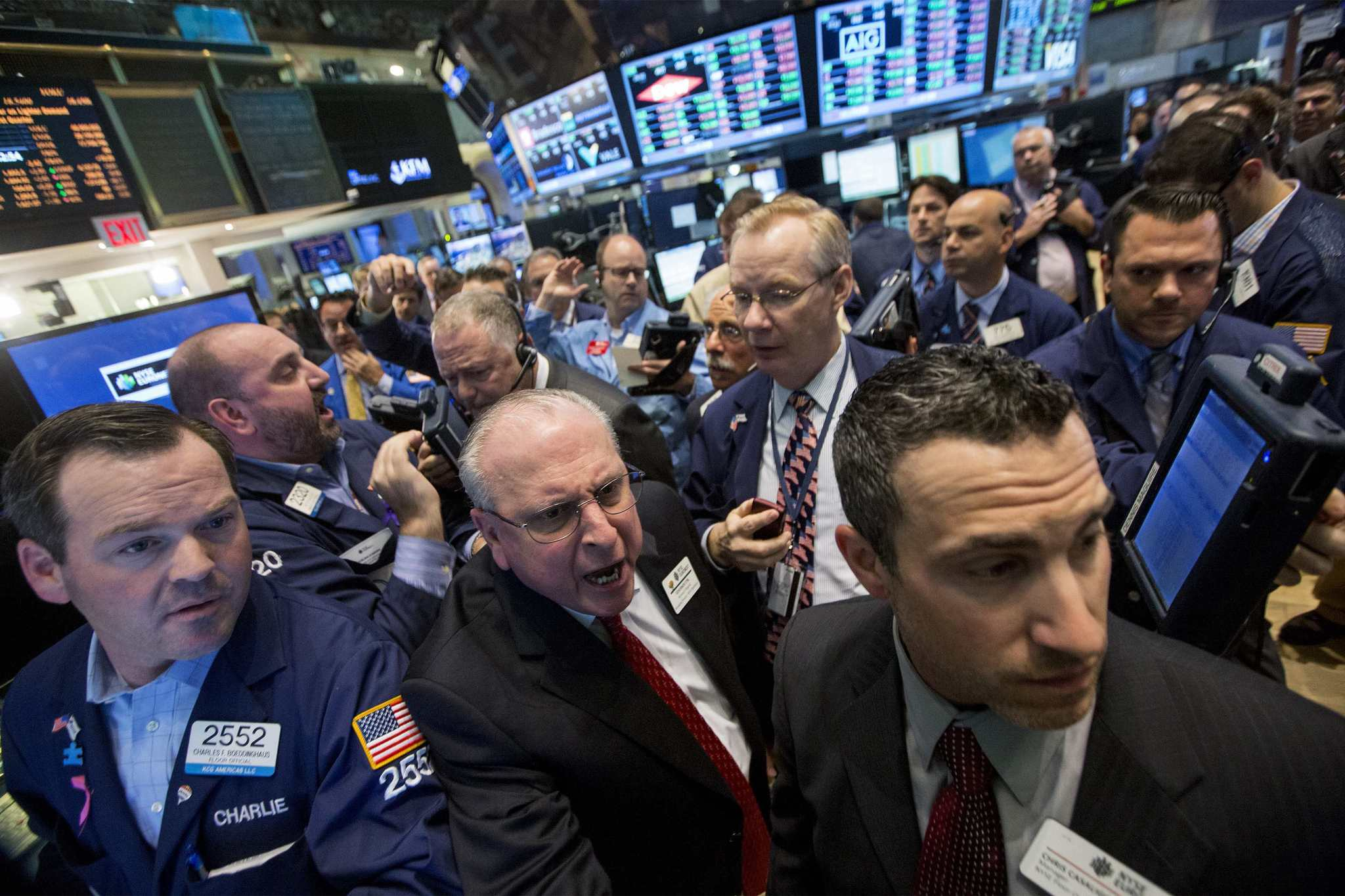 Traders work on the floor of the New York Stock Exchange May 23.