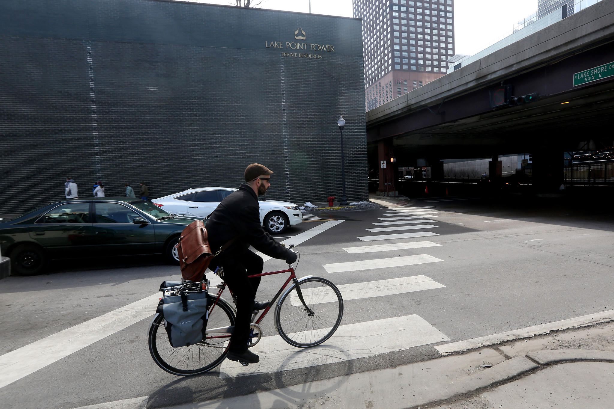 The crosswalk at Grand Avenue and Lake Shore Drive is part of the bike path near Navy Pier.