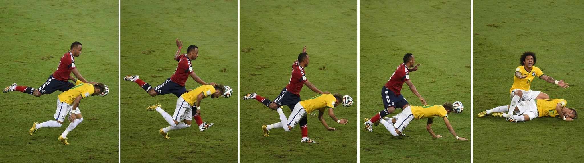 Sequence of pictures showing Colombia's defender Juan Camilo Zuniga challenging Brazil's forward Neymar and Brazilian defender Marcelo shouting for help.