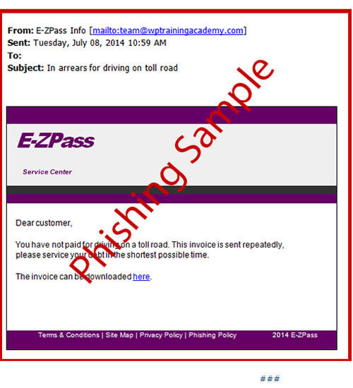 A sample of the email being sent out as part of an E-ZPass phishing scam