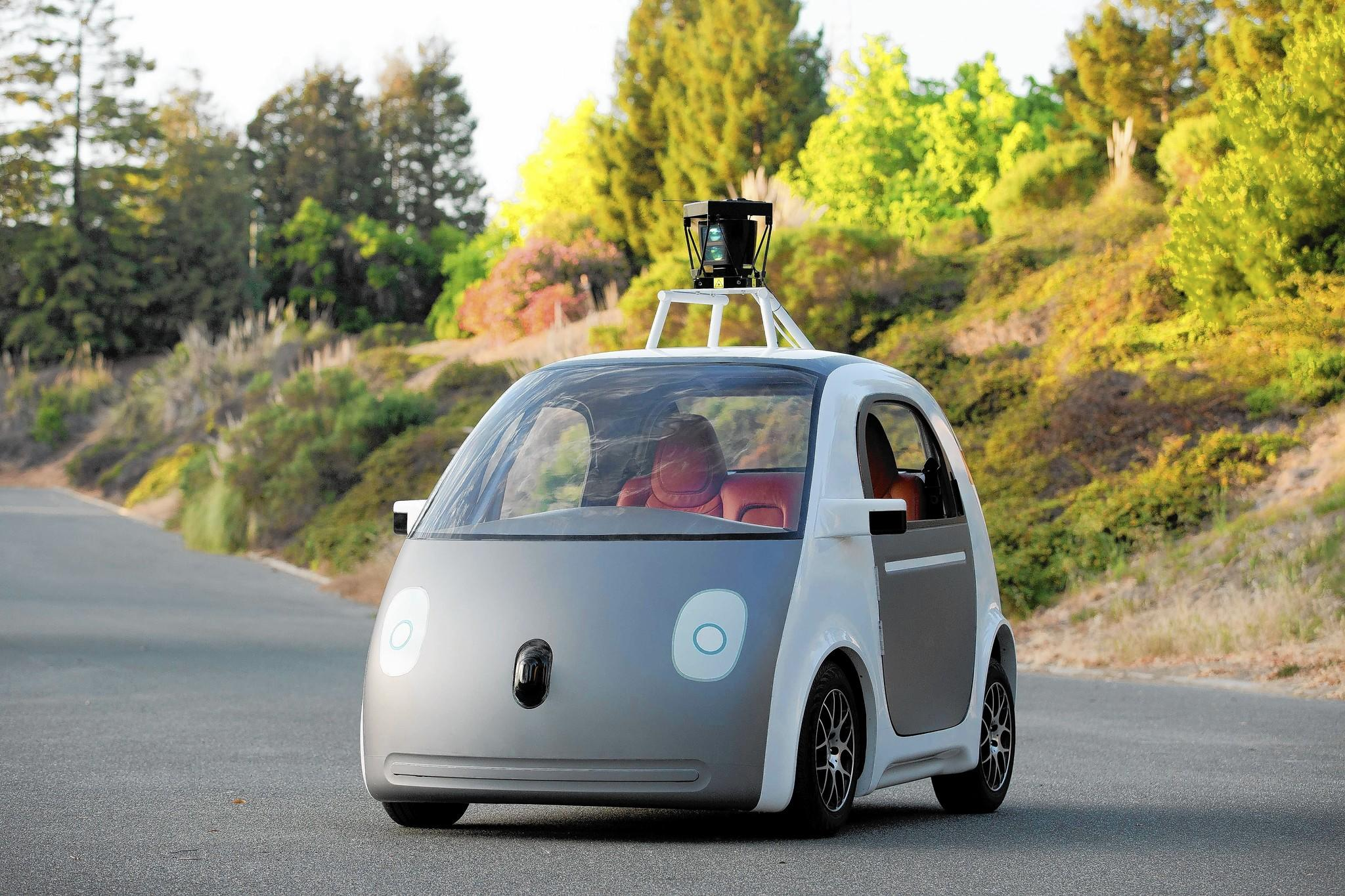 This handout image provided May 28, 2014 by Google, shows a self-driving a two-seat prototype vehicle conceived and designed by Google.