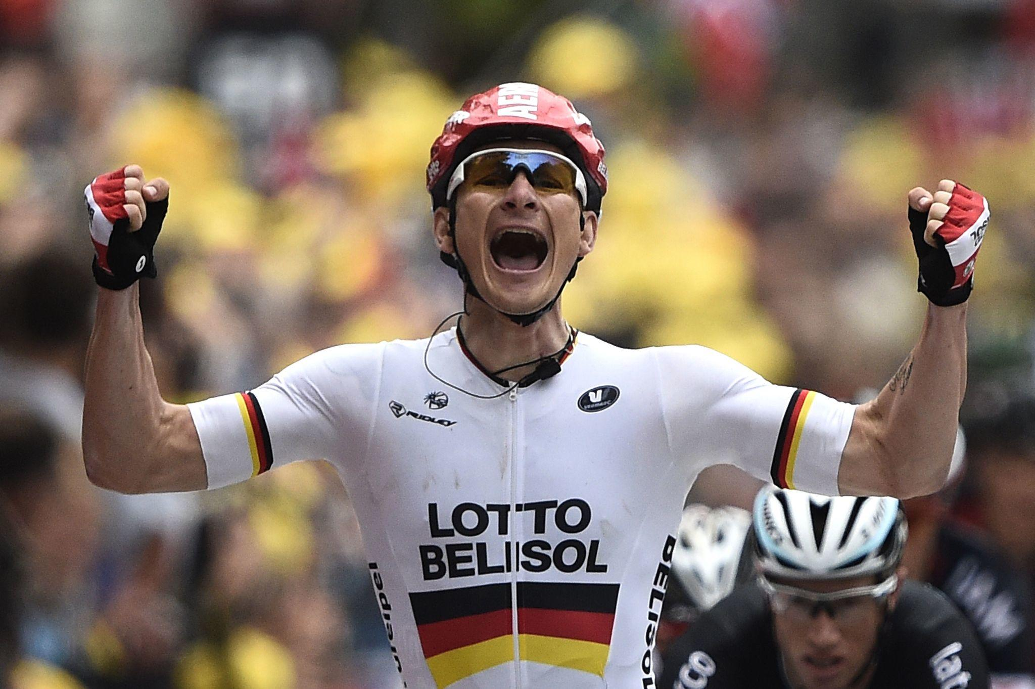 Germany's Andre Greipel celebrates as he crosses the finish line at the end of the 194 km sixth stage of the 101st edition of the Tour de France.