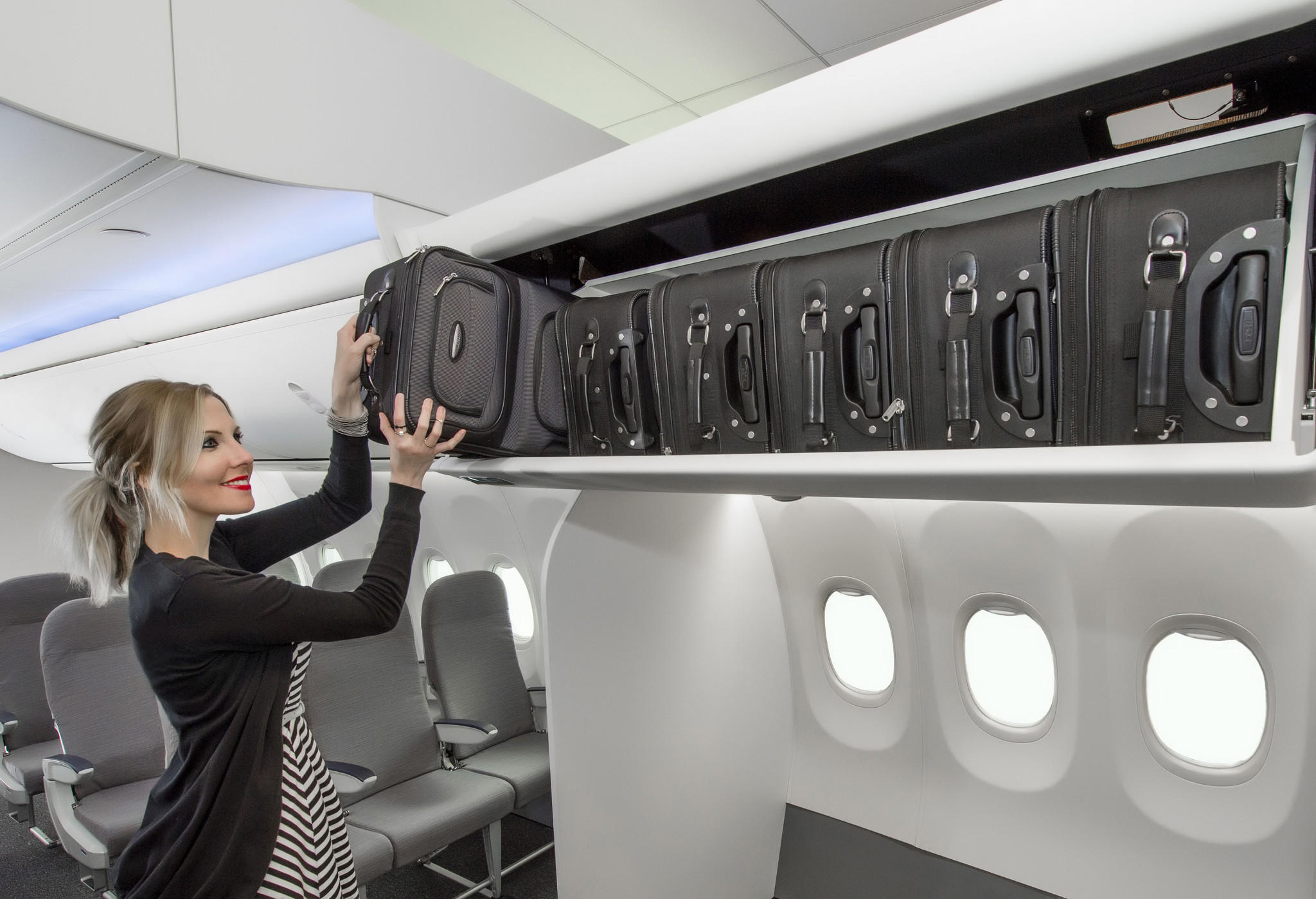 Boeing announced the launch of its new Space Bins today, which provide more room for carry-on bags.