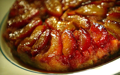 Plum upside-down cake