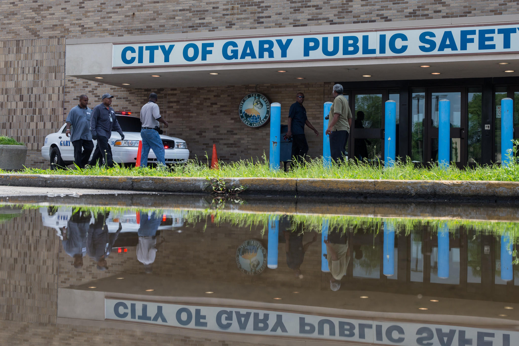 A police car is placed in front of Gary Police station as a memorial to fallen officer Jeffery Westerfield, 47, in Gary on Monday, July 7, 2014. (Zbigniew Bzdak/Chicago Tribune) B583844744Z.1 ....OUTSIDE TRIBUNE CO.- NO MAGS, NO SALES, NO INTERNET, NO TV, CHICAGO OUT, NO DIGITAL MANIPULATION...