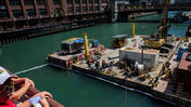 RAW: Barge sinks in Chicago River