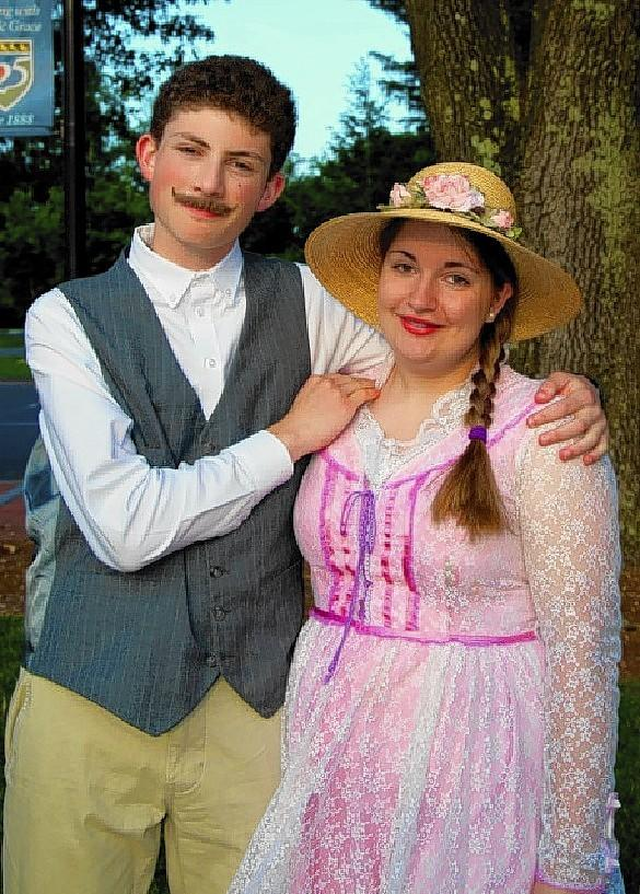 Simbury teens Ian Braverman and Kate Campolieta pose as the characters of Enoch Snow and Carrie Pipperidge in the musical Carousel.