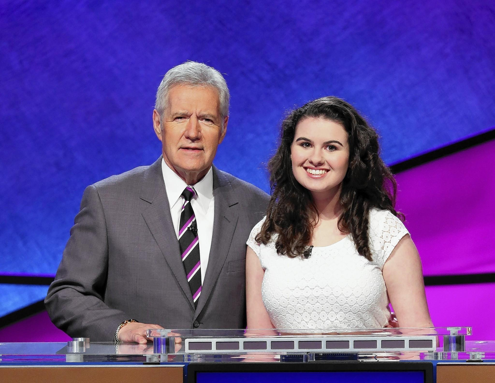 Selena Groh, with host Alex Trebek, will compete on Jeopardy on July 22.